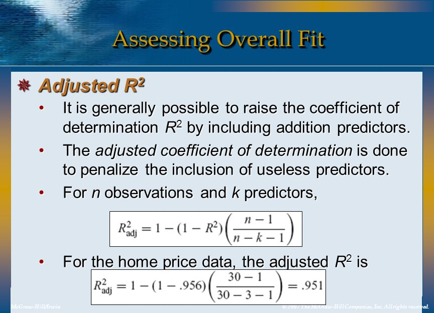 Assessing Overall Fit Adjusted R2