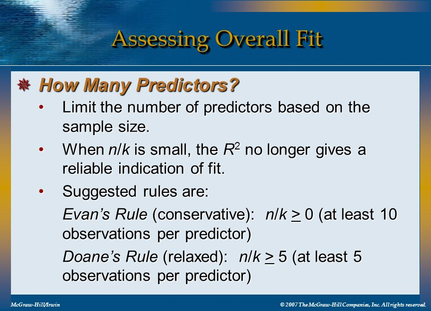 Assessing Overall Fit How Many Predictors