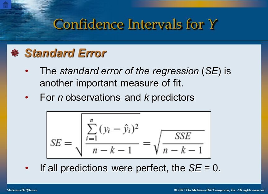 Confidence Intervals for Y