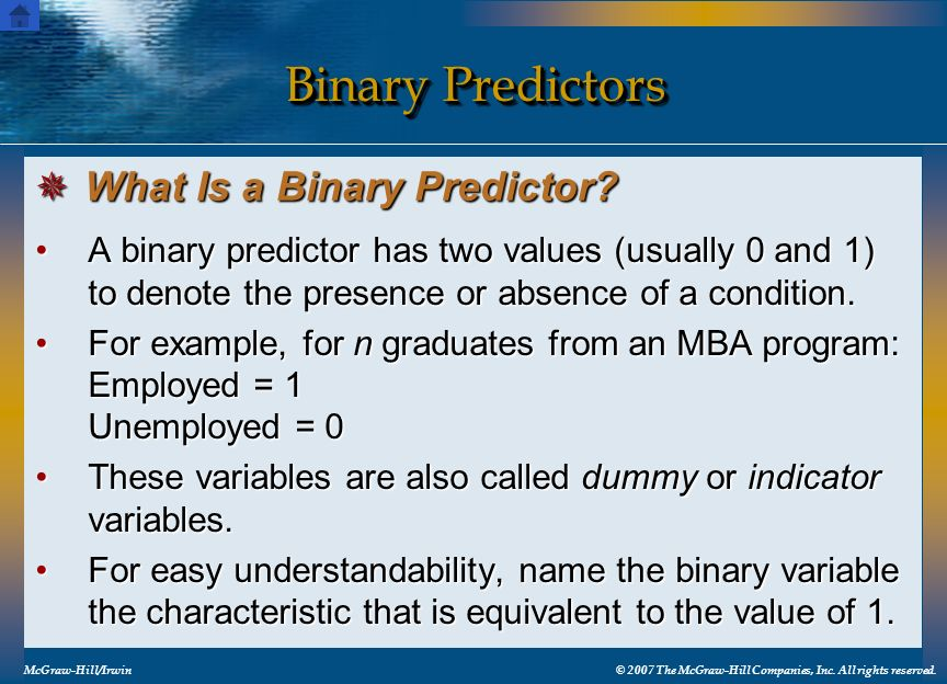 Binary Predictors What Is a Binary Predictor