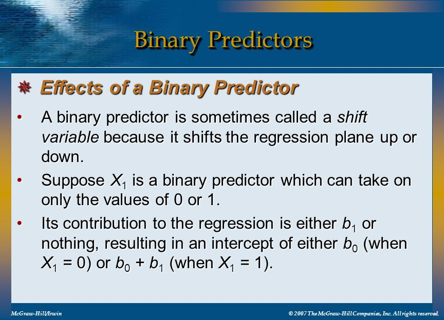 Binary Predictors Effects of a Binary Predictor