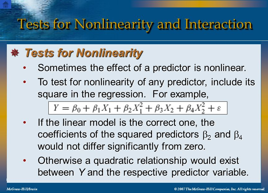 Tests for Nonlinearity and Interaction