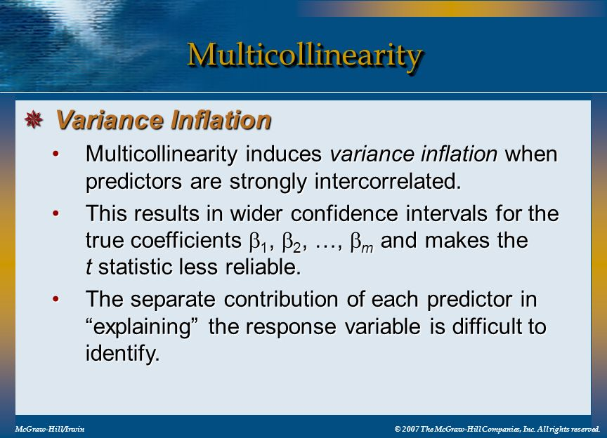 Multicollinearity Variance Inflation