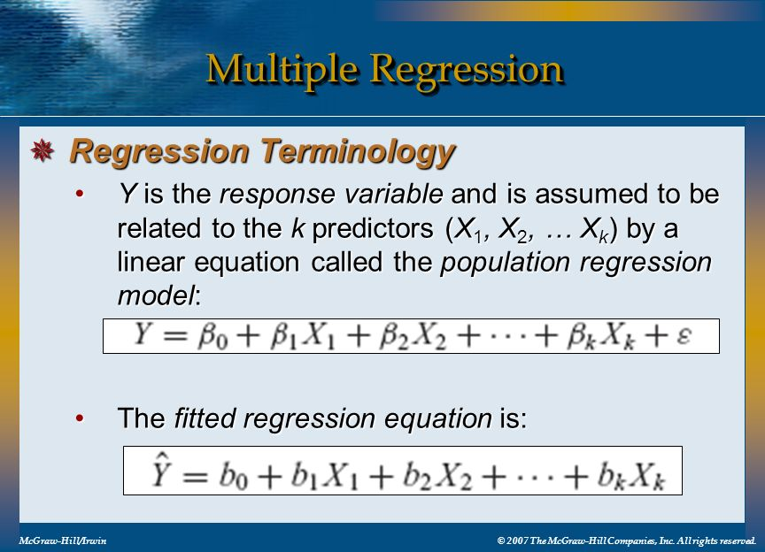 Multiple Regression Regression Terminology