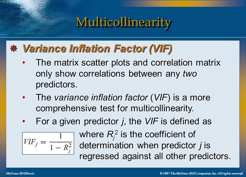 Multicollinearity Variance Inflation Factor (VIF)