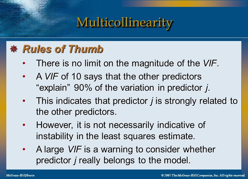 Multicollinearity Rules of Thumb