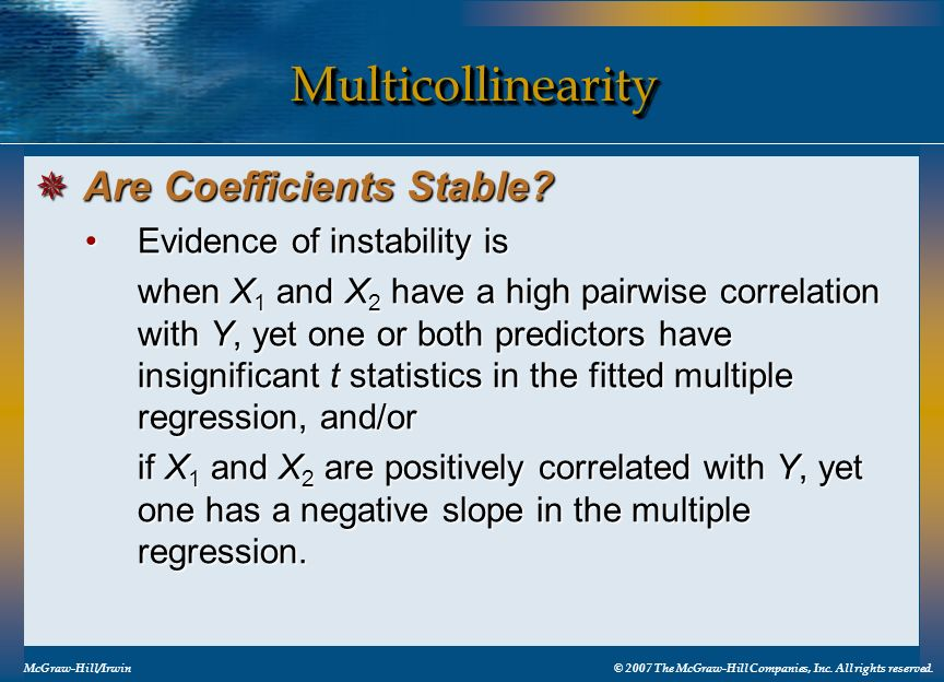 Multicollinearity Are Coefficients Stable Evidence of instability is