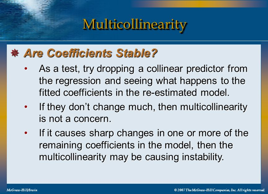 Multicollinearity Are Coefficients Stable
