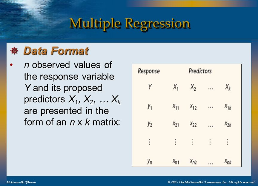 Multiple Regression Data Format