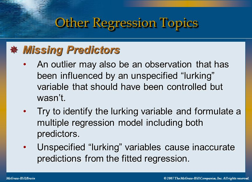Other Regression Topics