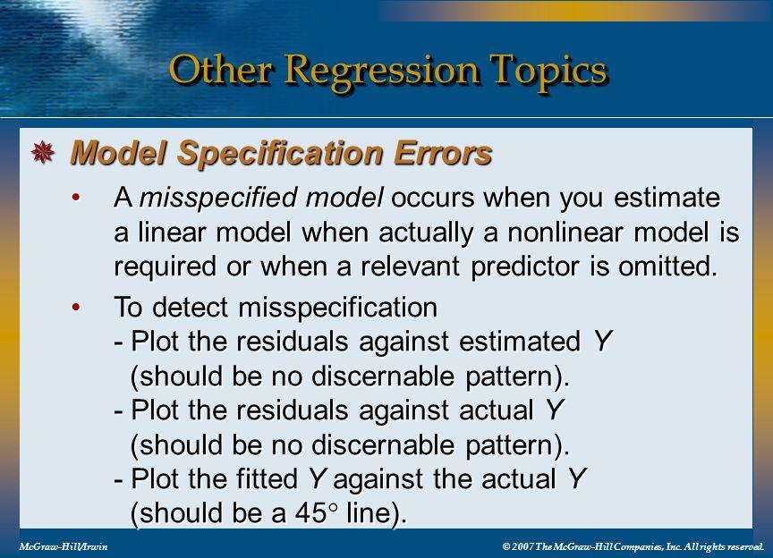 Other Regression Topics