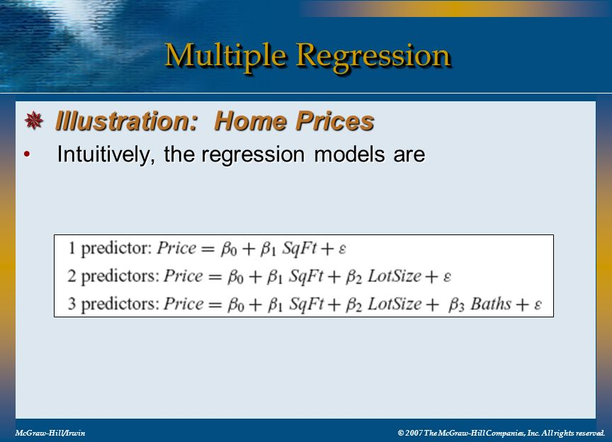 Multiple Regression Illustration: Home Prices