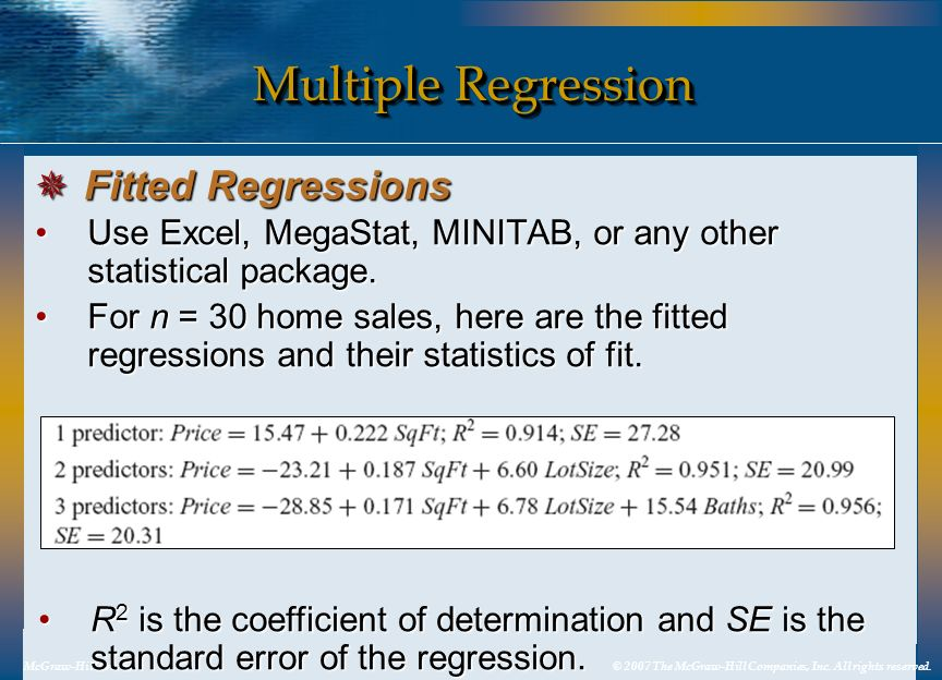 Multiple Regression Fitted Regressions