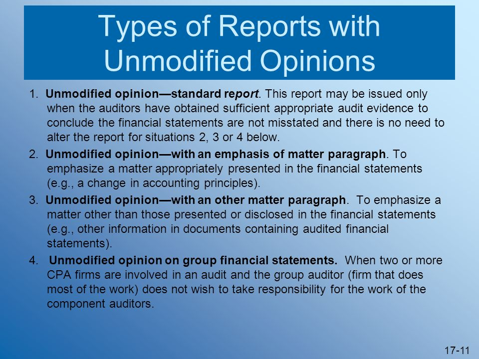 Types of Reports with Unmodified Opinions