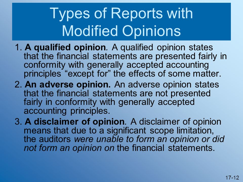 Types of Reports with Modified Opinions