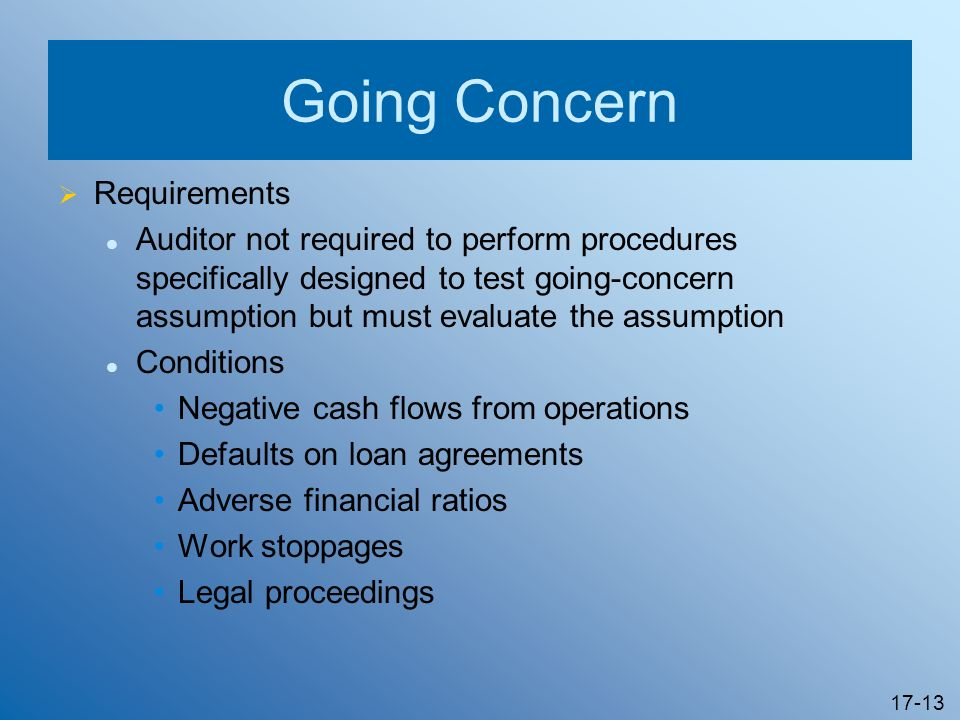 Going Concern Requirements