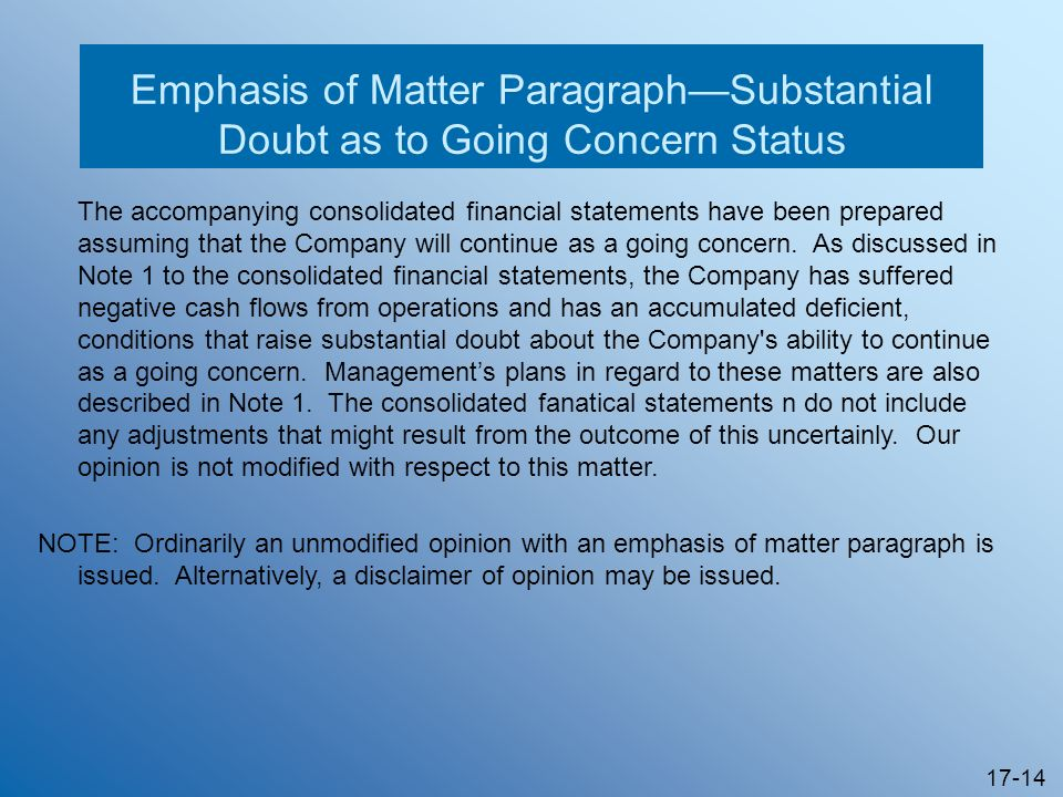 Emphasis of Matter Paragraph—Substantial Doubt as to Going Concern Status