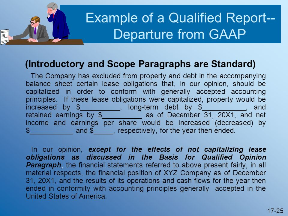 Example of a Qualified Report-- Departure from GAAP