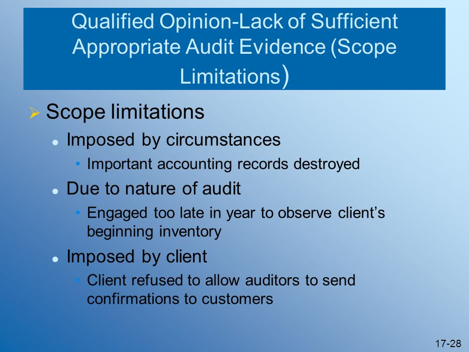 Qualified Opinion-Lack of Sufficient Appropriate Audit Evidence (Scope Limitations)