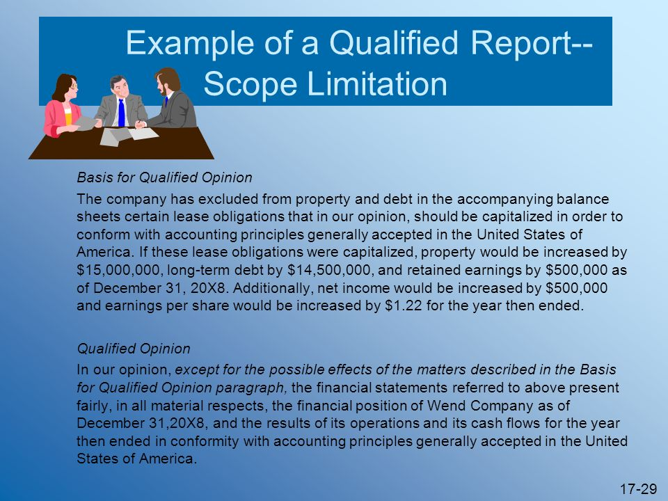 Example of a Qualified Report--Scope Limitation