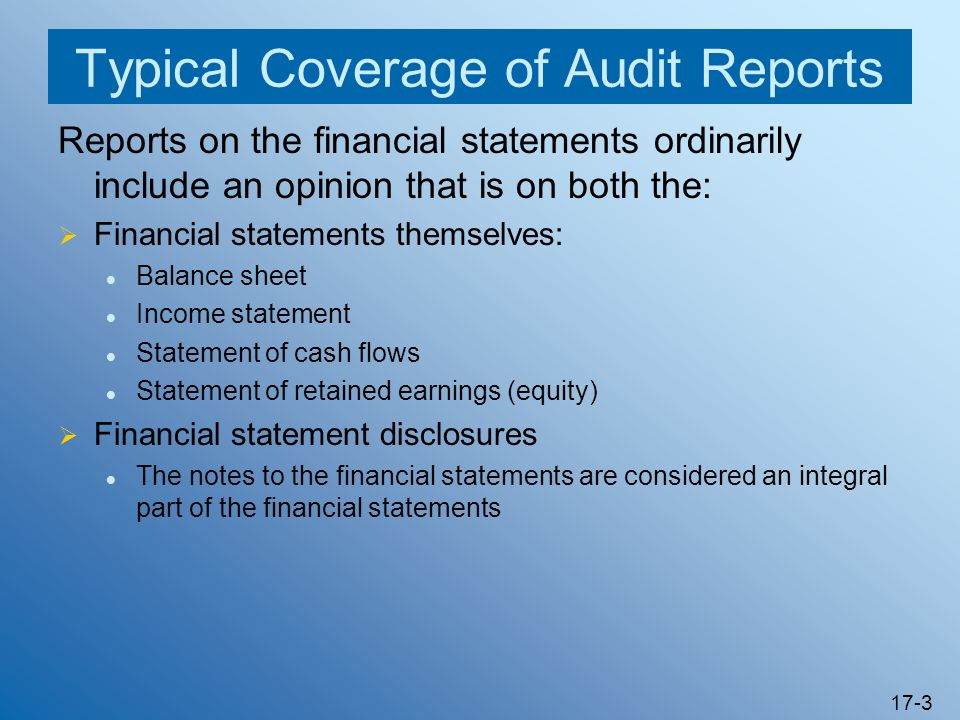 Typical Coverage of Audit Reports