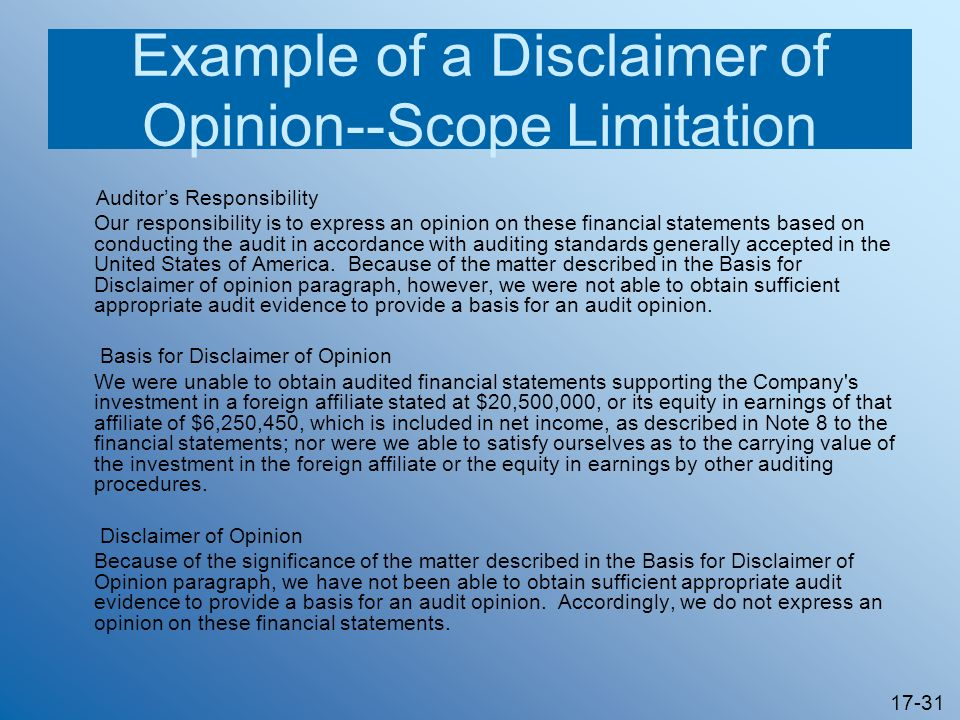 Example of a Disclaimer of Opinion--Scope Limitation