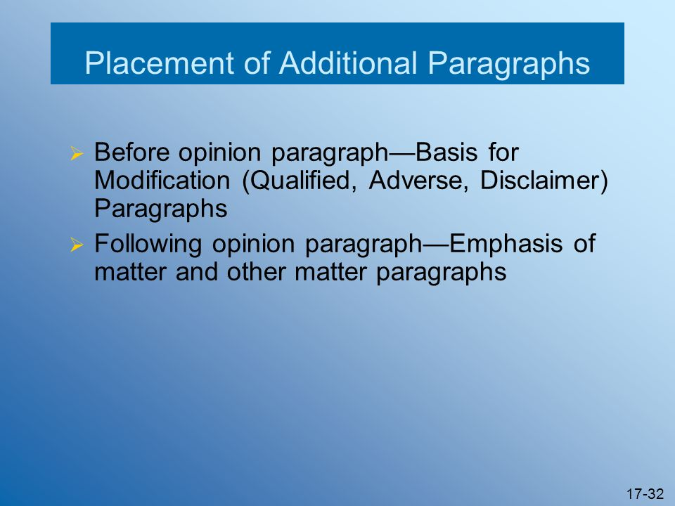 Placement of Additional Paragraphs