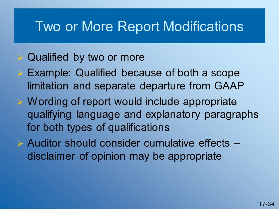 Two or More Report Modifications