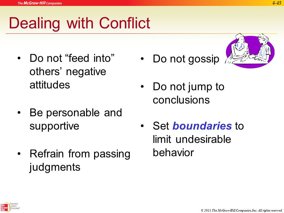 Dealing with Conflict Do not gossip