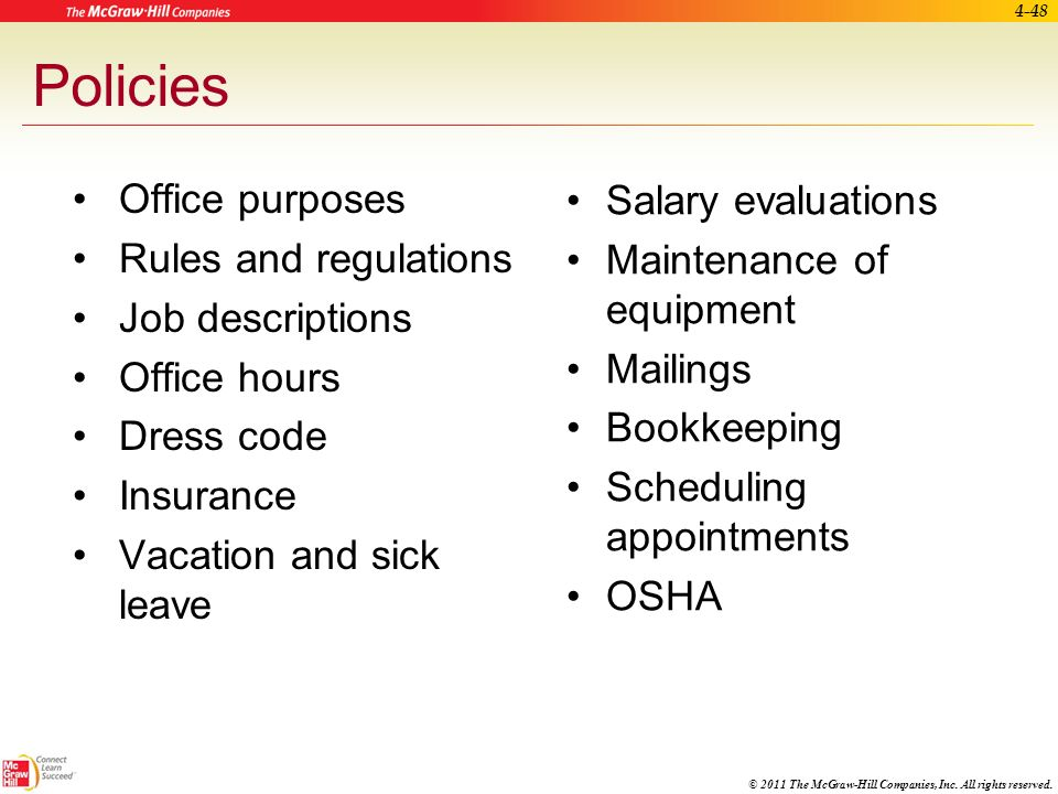 Policies Office purposes Salary evaluations Rules and regulations