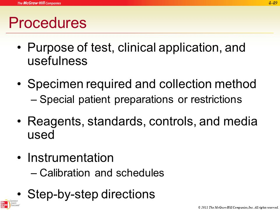 Procedures Purpose of test, clinical application, and usefulness