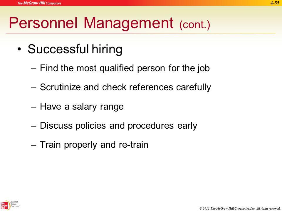 Personnel Management (cont.)