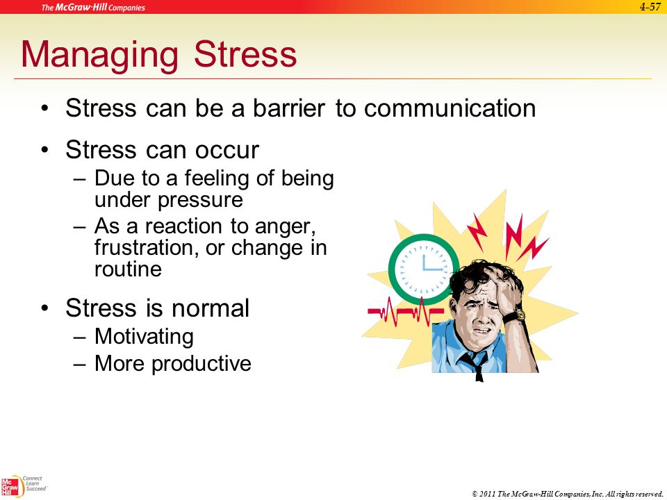 Managing Stress Stress can be a barrier to communication