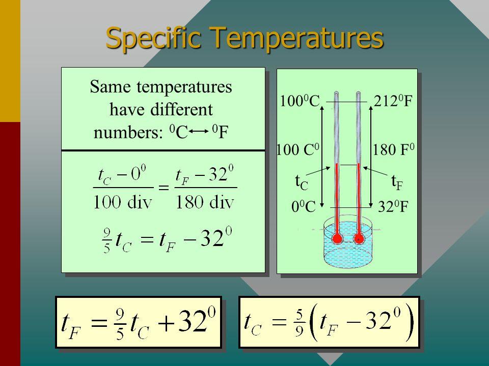 Specific Temperatures