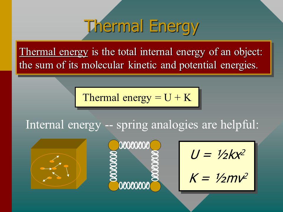Internal energy -- spring analogies are helpful: