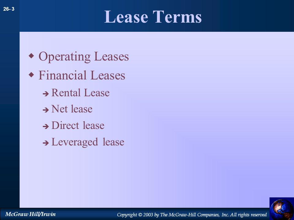 Lease Terms Operating Leases Financial Leases Rental Lease Net lease