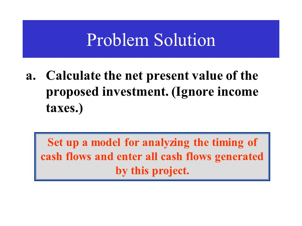 Problem Solution Calculate the net present value of the proposed investment. (Ignore income taxes.)