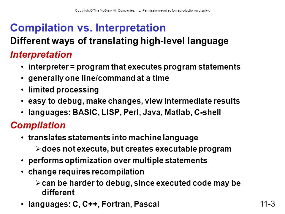 Compilation vs. Interpretation