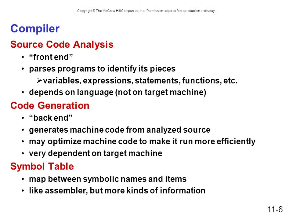 Compiler Source Code Analysis Code Generation Symbol Table front end