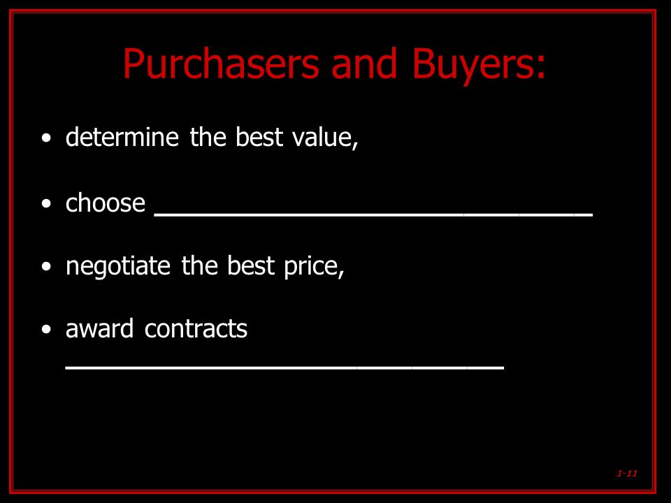Purchasers and Buyers: