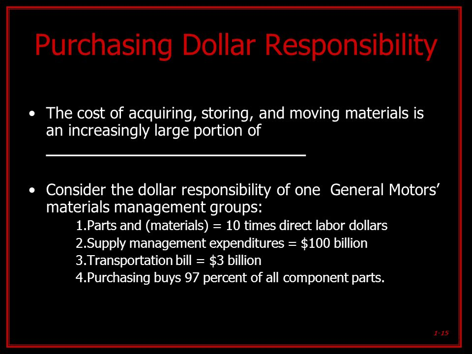Purchasing Dollar Responsibility
