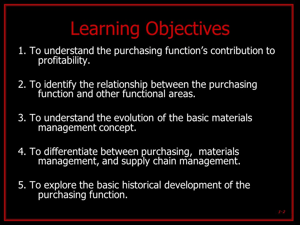 Learning Objectives 1. To understand the purchasing function's contribution to profitability.