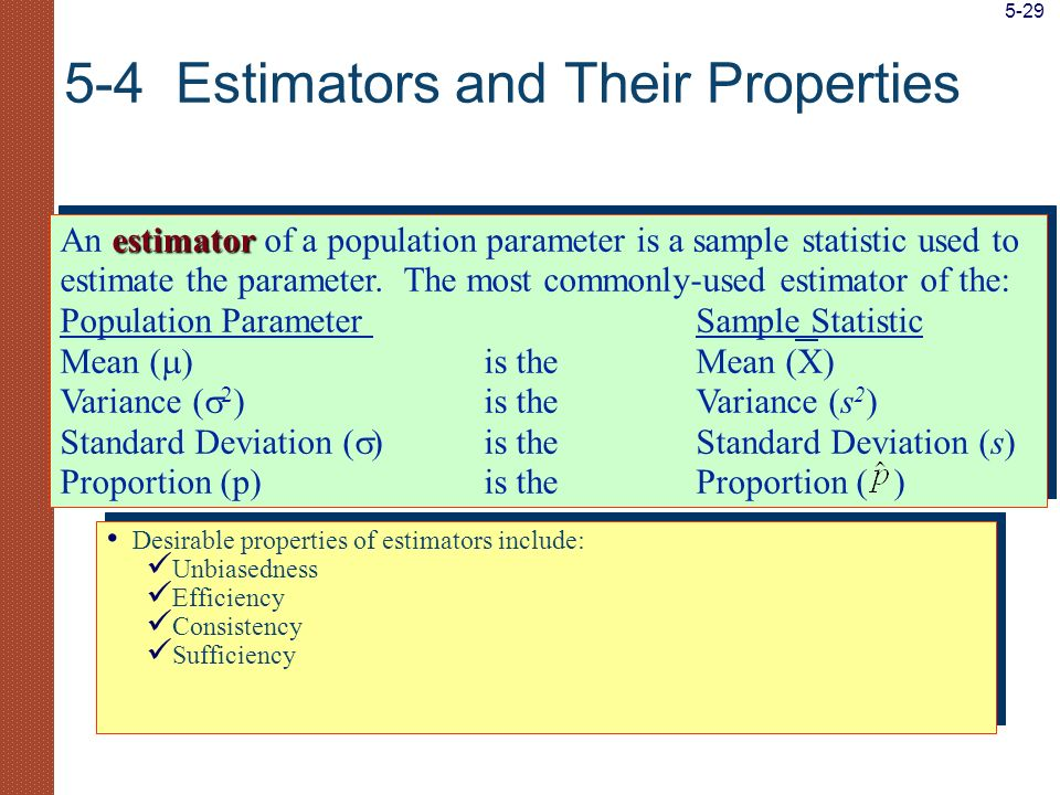 5-4 Estimators and Their Properties