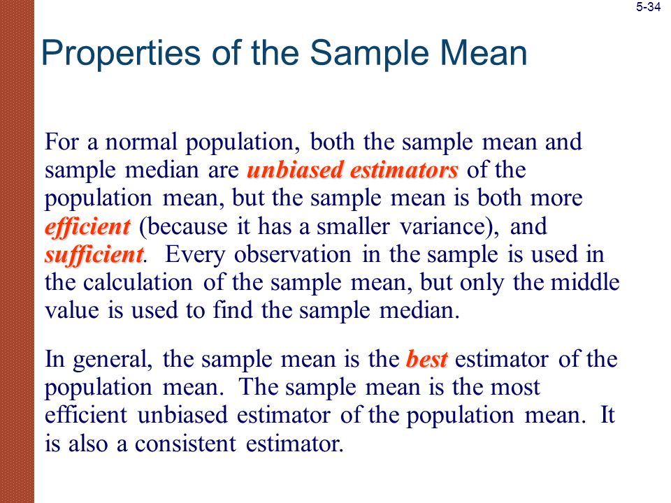 Properties of the Sample Mean