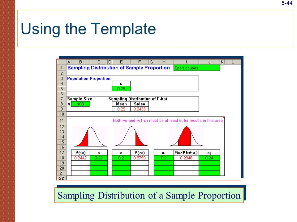 5-44 Using the Template Sampling Distribution of a Sample Proportion