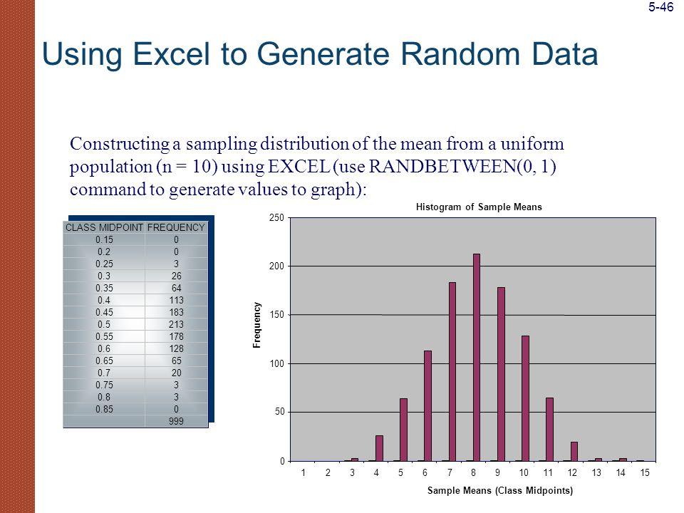 Using Excel to Generate Random Data