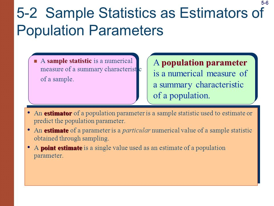 5-2 Sample Statistics as Estimators of Population Parameters