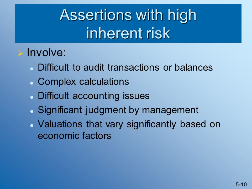 Assertions with high inherent risk