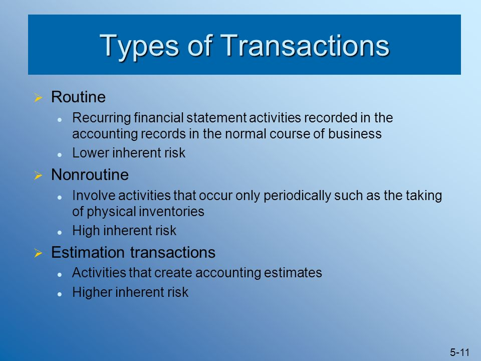 non routine transactions inherent risk And, last but not least, an overview of inherent risk the important  non-routine  or unusual transactions include, but are not limited to, losses due to fires, major.
