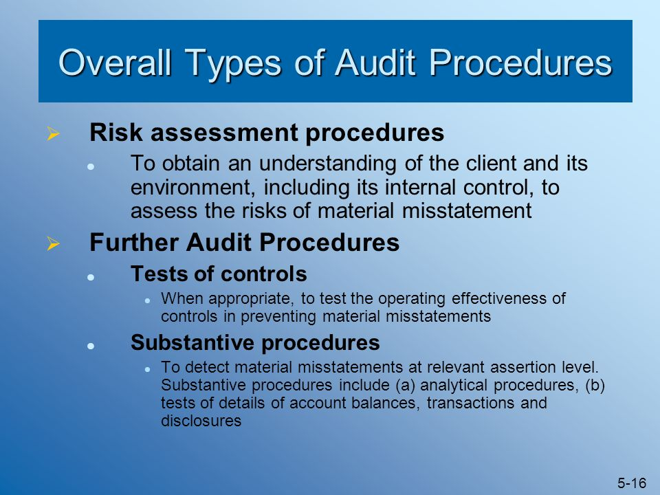 Overall Types of Audit Procedures